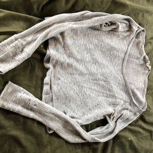 Grey sparkly long sleeve top